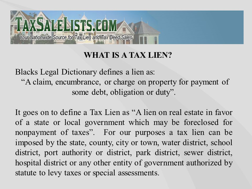 "Blacks Legal Dictionary defines a lien as: ""A claim, encumbrance, or charge on property for payment of some debt, obligation or duty"". It goes on to d"