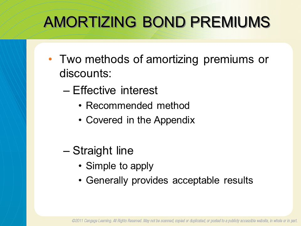 AMORTIZING BOND PREMIUMS Two methods of amortizing premiums or discounts: –Effective interest Recommended method Covered in the Appendix –Straight line Simple to apply Generally provides acceptable results