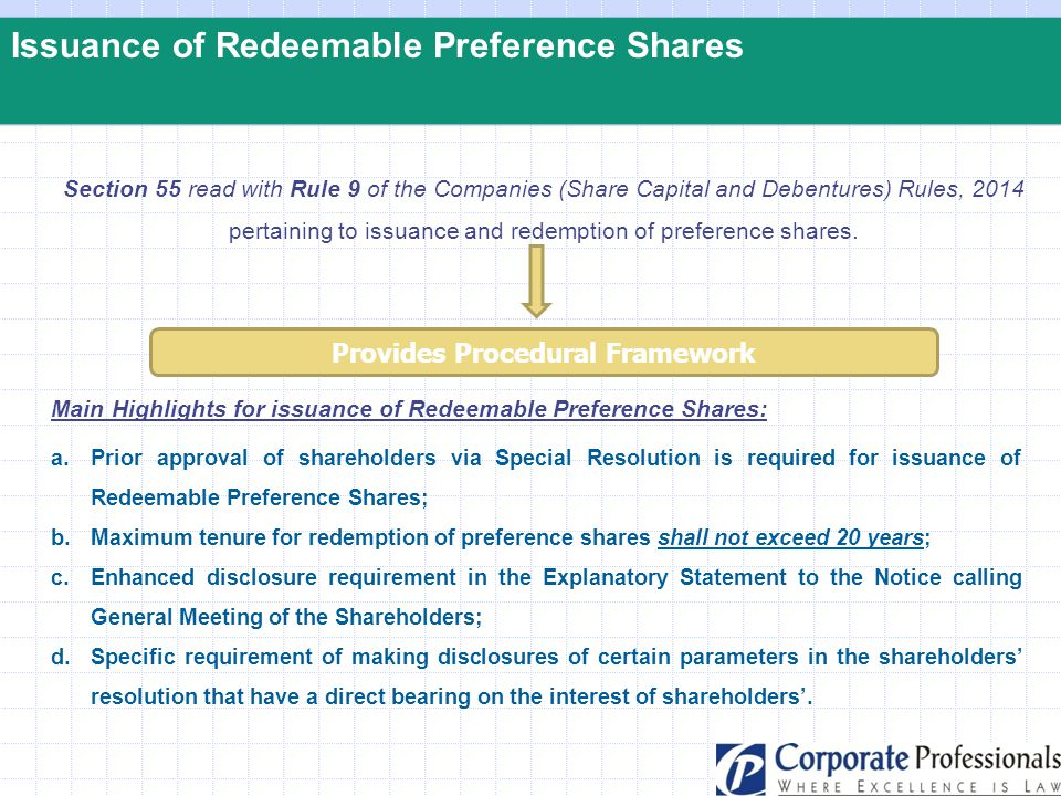 Issuance of Redeemable Preference Shares Section 55 read with Rule 9 of the Companies (Share Capital and Debentures) Rules, 2014 pertaining to issuanc
