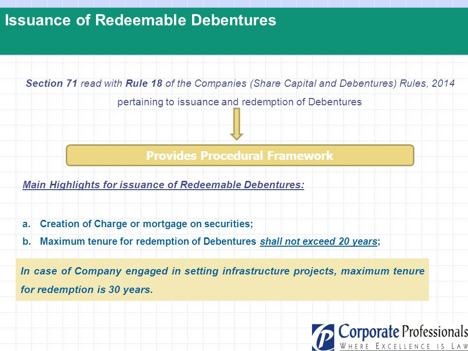 Issuance of Redeemable Debentures Section 71 read with Rule 18 of the Companies (Share Capital and Debentures) Rules, 2014 pertaining to issuance and