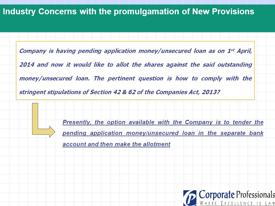 Industry Concerns with the promulgamation of New Provisions Company is having pending application money/unsecured loan as on 1 st April, 2014 and now