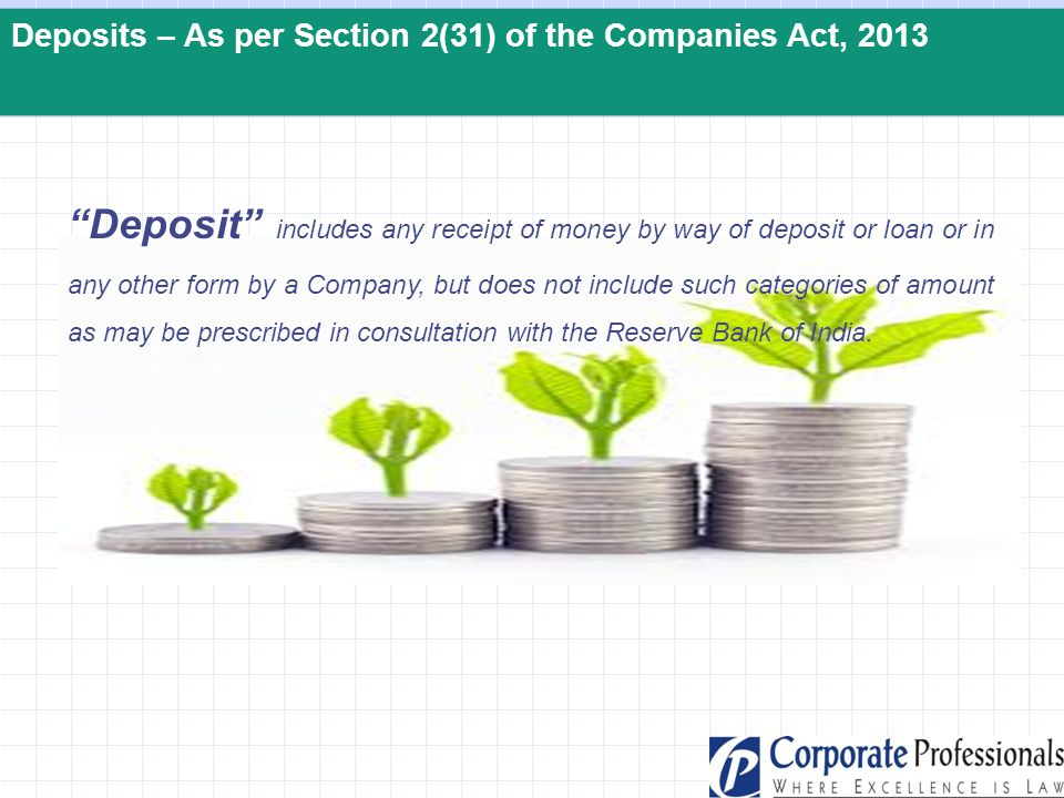 """Deposits – As per Section 2(31) of the Companies Act, 2013 """"Deposit"""" includes any receipt of money by way of deposit or loan or in any other form by a"""