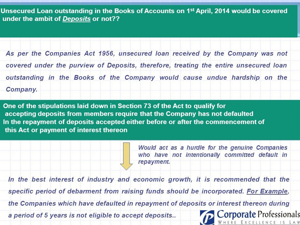 Unsecured Loan outstanding in the Books of Accounts on 1 st April, 2014 would be covered under the ambit of Deposits or not?? As per the Companies Act