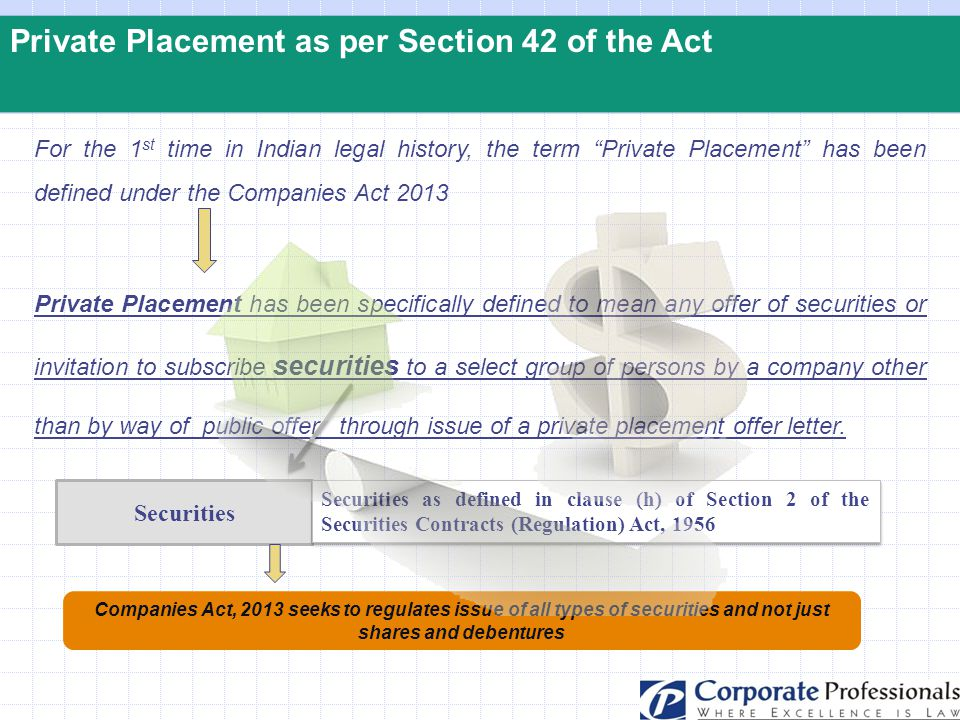 """Private Placement as per Section 42 of the Act For the 1 st time in Indian legal history, the term """"Private Placement"""" has been defined under the Comp"""