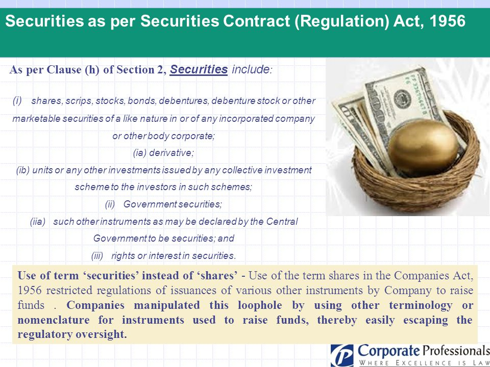 Securities as per Securities Contract (Regulation) Act, 1956 As per Clause (h) of Section 2, Securities include : (i) shares, scrips, stocks, bonds, d