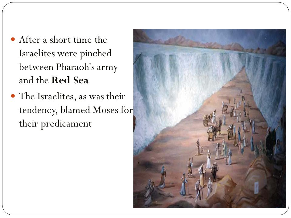 After a short time the Israelites were pinched between Pharaoh s army and the Red Sea The Israelites, as was their tendency, blamed Moses for their predicament