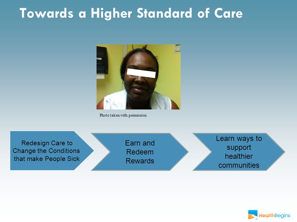 Towards a Higher Standard of Care Photo taken with permission Redesign Care to Change the Conditions that make People Sick Earn and Redeem Rewards Learn ways to support healthier communities