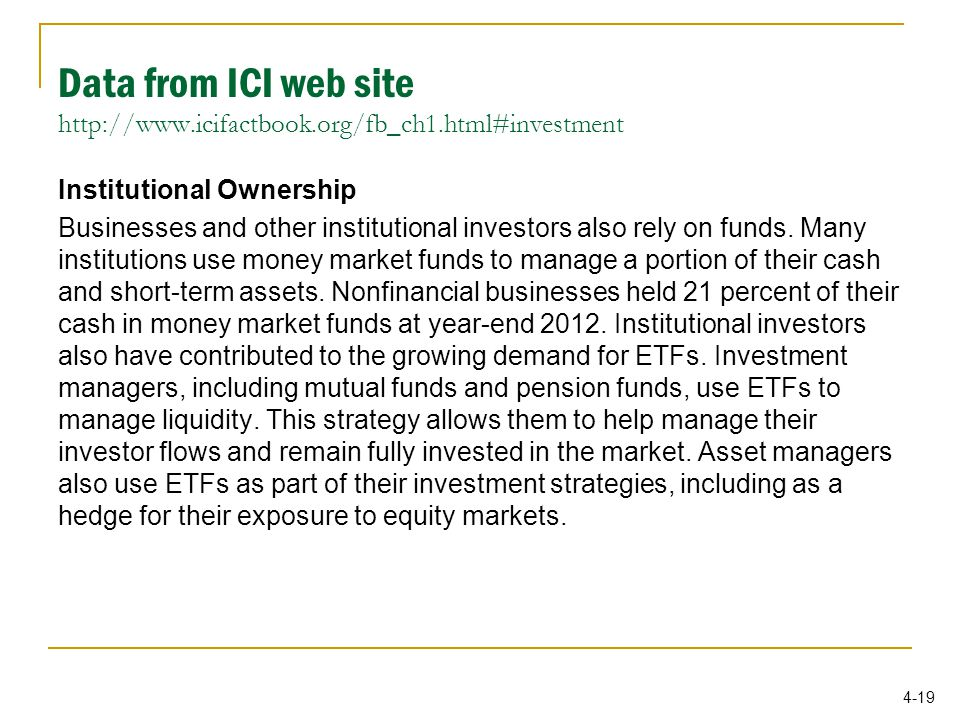 4-19 Institutional Ownership Businesses and other institutional investors also rely on funds.