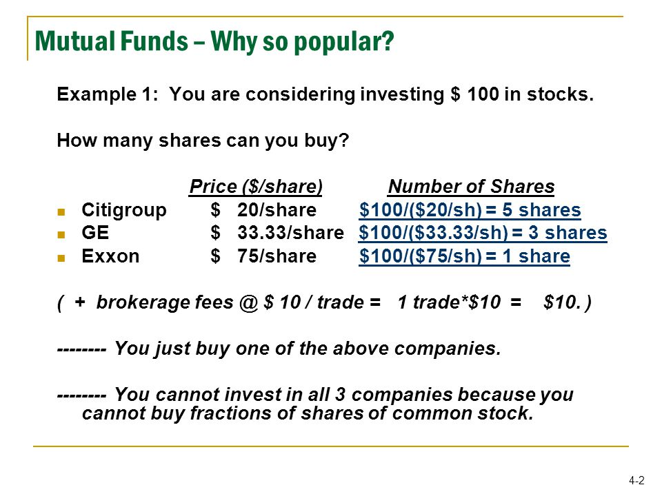 4-2 Mutual Funds – Why so popular. Example 1: You are considering investing $ 100 in stocks.
