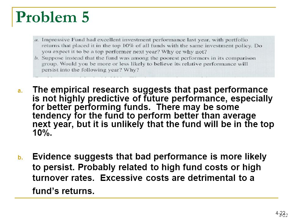 4-22 Problem 5 a. The empirical research suggests that past performance is not highly predictive of future performance, especially for better performi