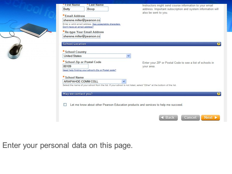Enter your personal data on this page.