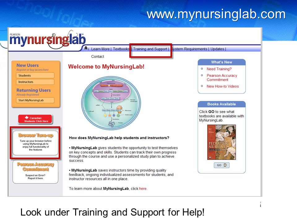 www.mynursinglab.com Look under Training and Support for Help! !