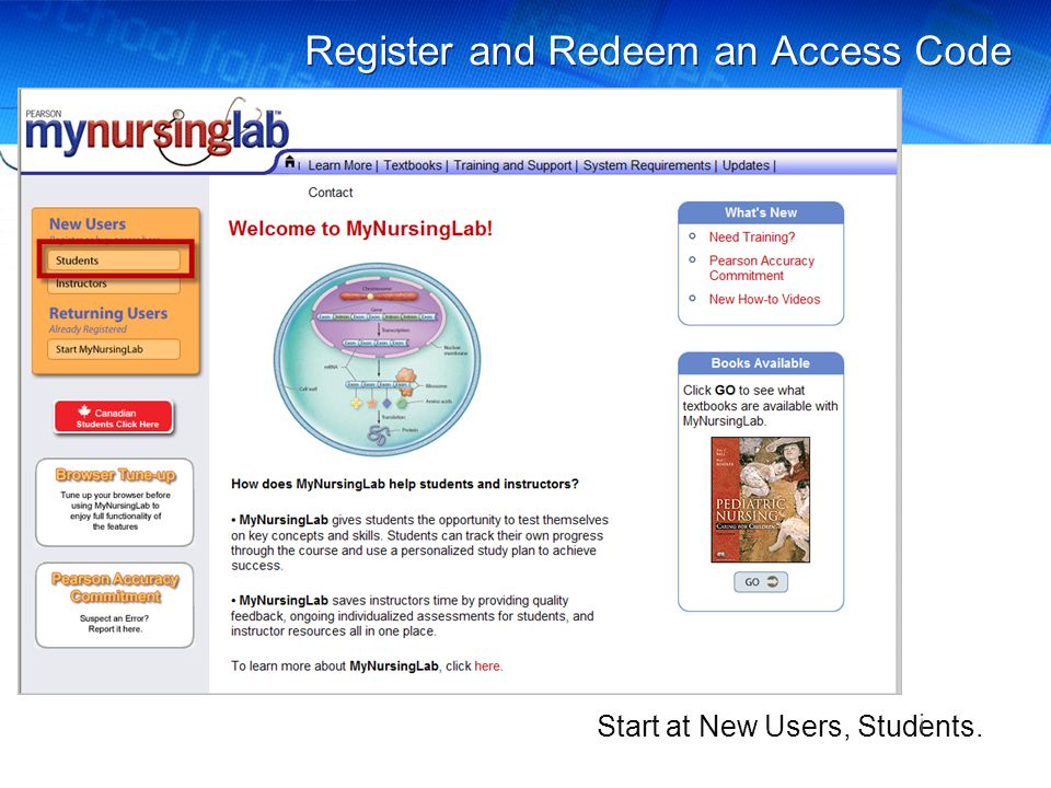 Register and Redeem an Access Code Start at New Users, Students. !