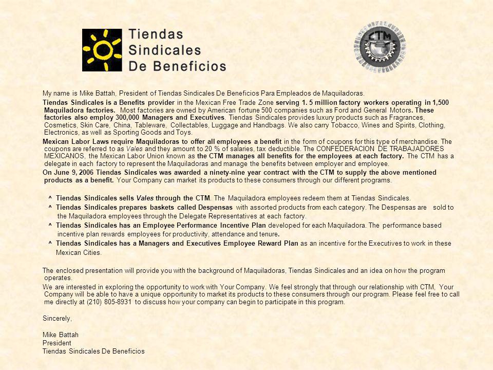 Tiendas Sindicales De Beneficios CTM Contract