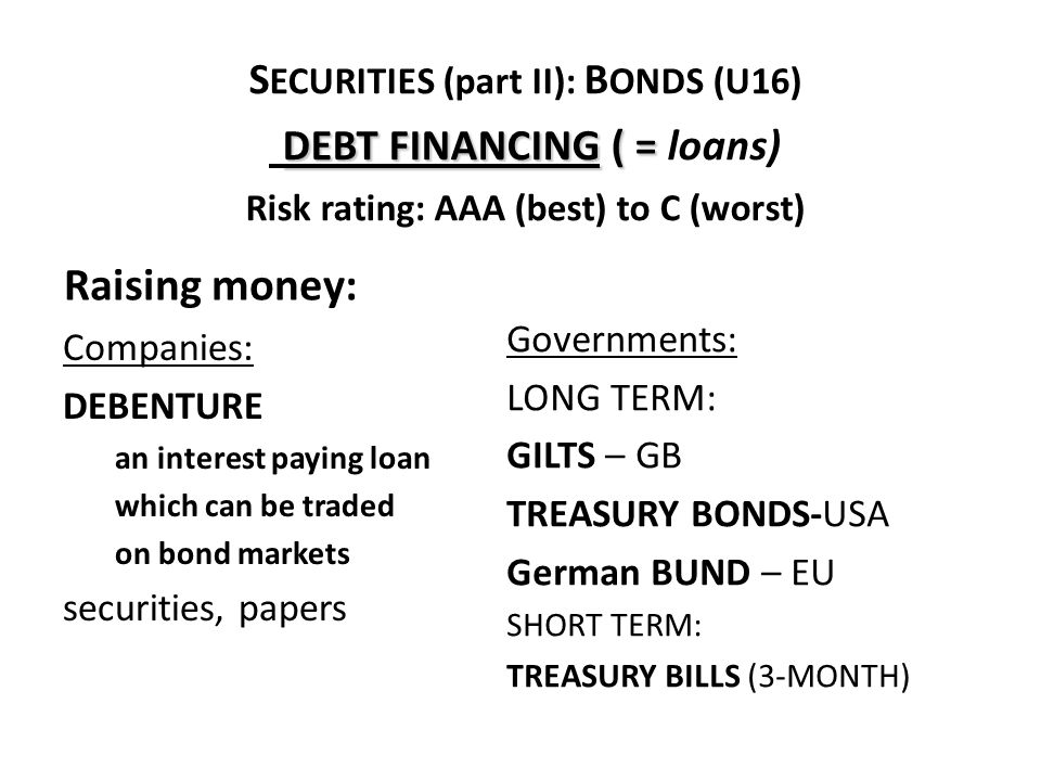 DEBT FINANCING ( = S ECURITIES (part II): B ONDS (U16) DEBT FINANCING ( = loans) Risk rating: AAA (best) to C (worst) Companies: DEBENTURE an interest paying loan which can be traded on bond markets securities, papers Governments: LONG TERM: GILTS – GB TREASURY BONDS-USA German BUND – EU SHORT TERM: TREASURY BILLS (3-MONTH) Raising money: