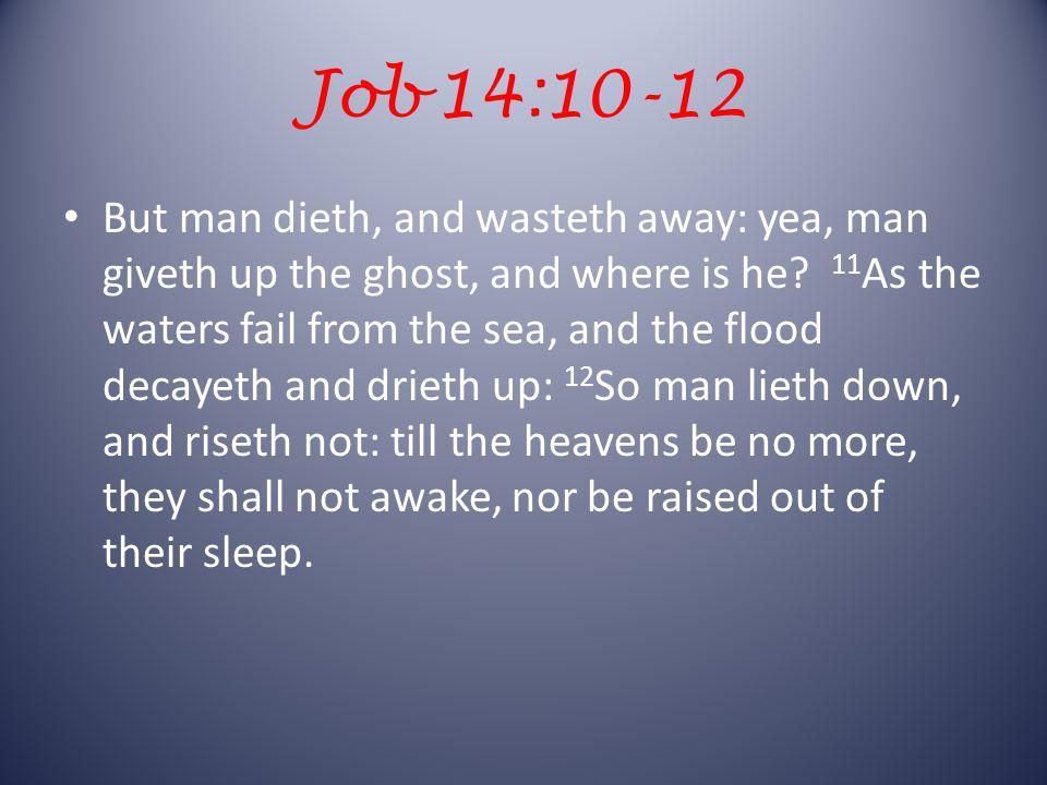 Job 14:14, 15 If a man die, shall he live again.