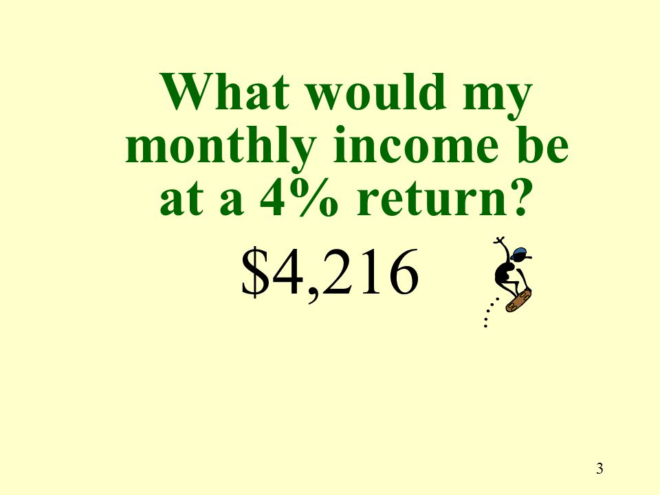 3 $4,216 What would my monthly income be at a 4% return?