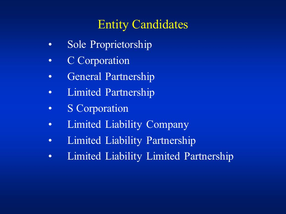 Choice of Entity Factors 1.Future sale potential 2.Different equity interests 3.Earnings bailout 4.Conversion ability 5.Bracket racquet 6.Loss utilizations 7.Control rights 8.Owner fringe benefits 9.