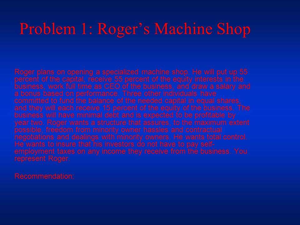 Problem 1: Roger's Machine Shop Roger plans on opening a specialized machine shop.
