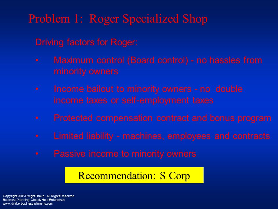 Problem 1: Roger Specialized Shop Driving factors for Roger: Maximum control (Board control) - no hassles from minority owners Income bailout to minority owners - no double income taxes or self-employment taxes Protected compensation contract and bonus program Limited liability - machines, employees and contracts Passive income to minority owners Copyright 2005 Dwight Drake.