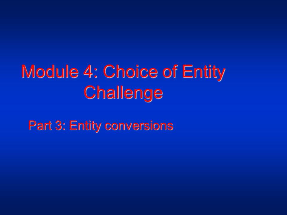 Module 4: Choice of Entity Challenge Part 3: Entity conversions