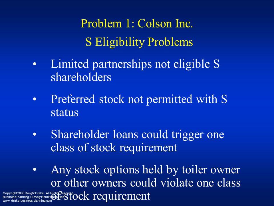 Problem 1: Colson Inc.