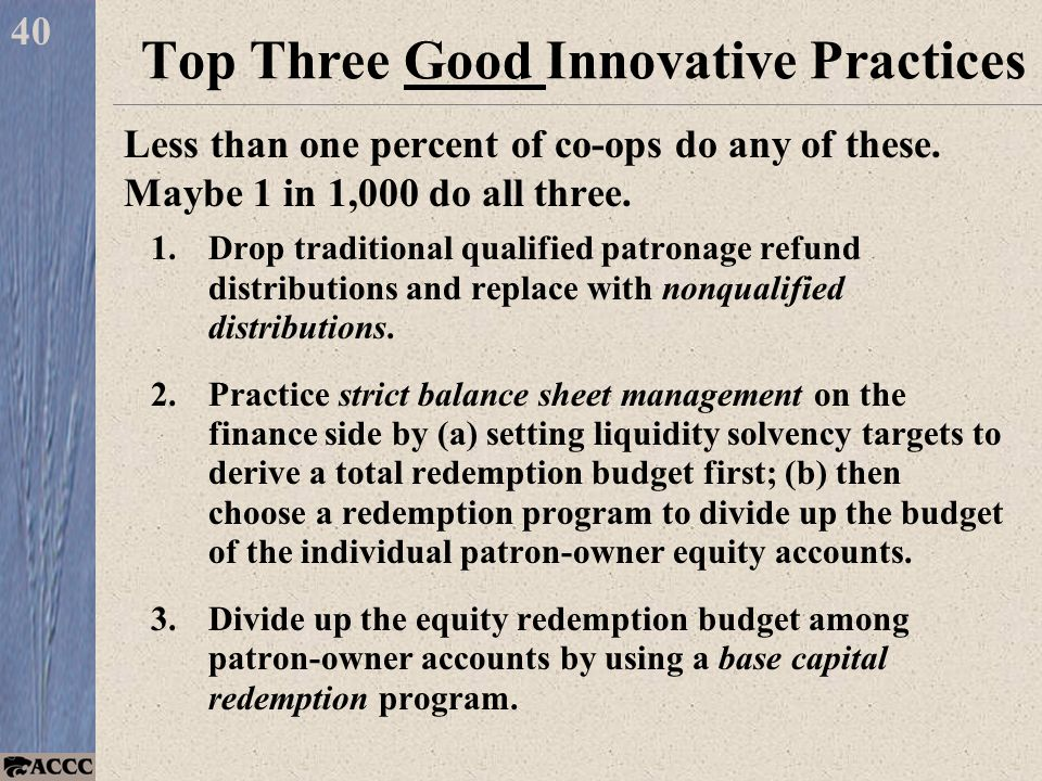 Less than one percent of co-ops do any of these. Maybe 1 in 1,000 do all three.