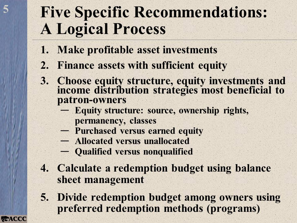 Five Specific Recommendations: A Logical Process 1.Make profitable asset investments 2.Finance assets with sufficient equity 3.Choose equity structure, equity investments and income distribution strategies most beneficial to patron-owners — Equity structure: source, ownership rights, permanency, classes — Purchased versus earned equity — Allocated versus unallocated — Qualified versus nonqualified 4.Calculate a redemption budget using balance sheet management 5.Divide redemption budget among owners using preferred redemption methods (programs) 5