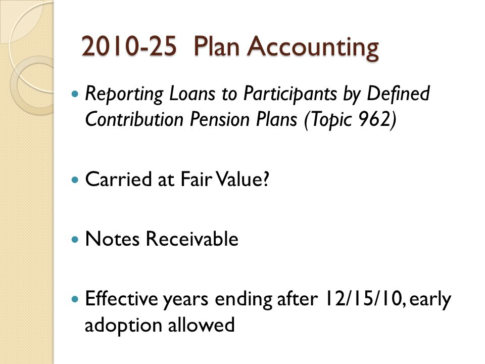 Plan Accounting Reporting Loans to Participants by Defined Contribution Pension Plans (Topic 962) Carried at Fair Value.