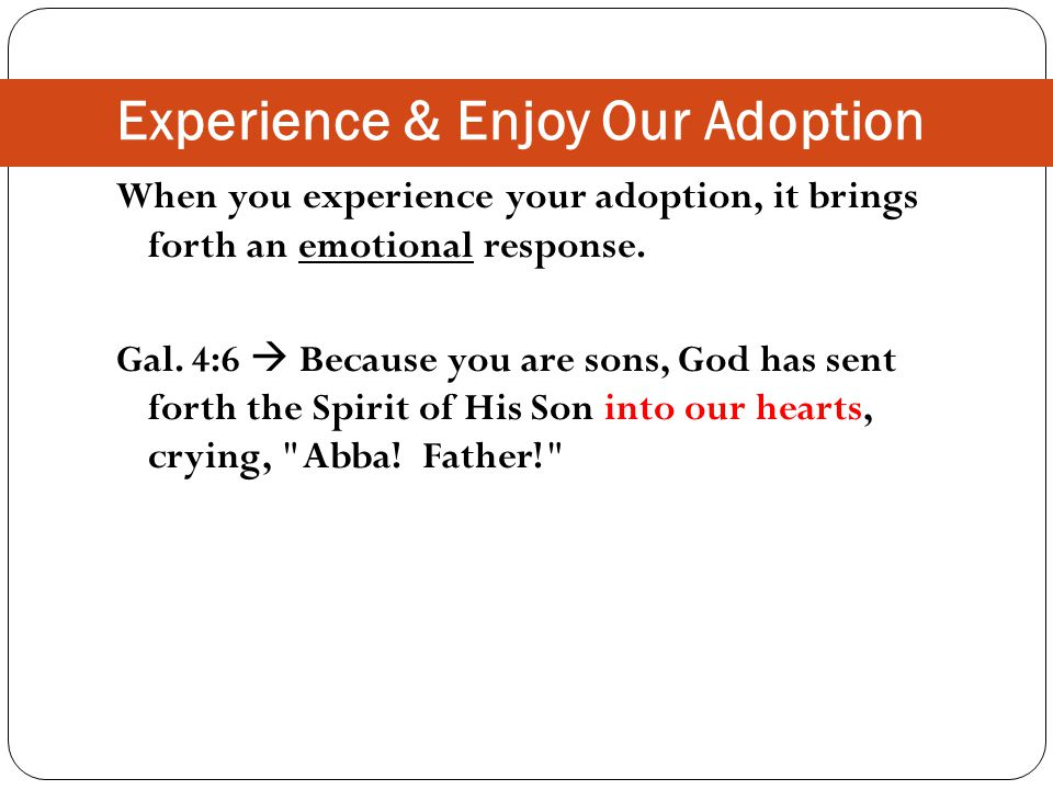 Experience & Enjoy Our Adoption When you experience your adoption, it brings forth an emotional response.