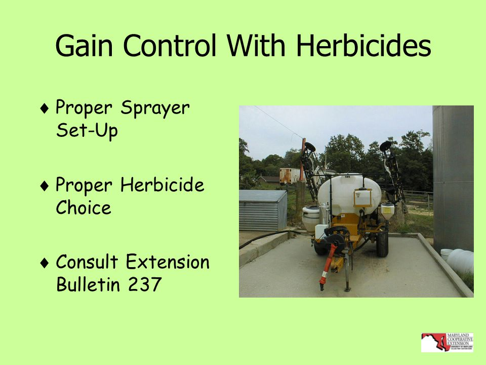Gain Control With Herbicides  Proper Sprayer Set-Up  Proper Herbicide Choice  Consult Extension Bulletin 237