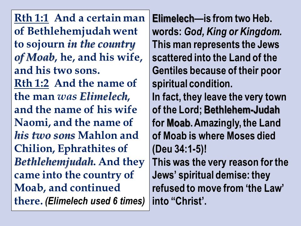 in the country of Moab Rth 1:1 And a certain man of Bethlehemjudah went to sojourn in the country of Moab, he, and his wife, and his two sons.
