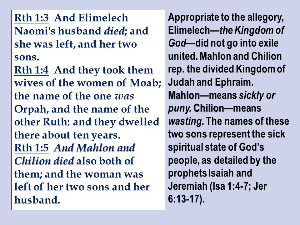 died Rth 1:3 And Elimelech Naomi s husband died ; and she was left, and her two sons.