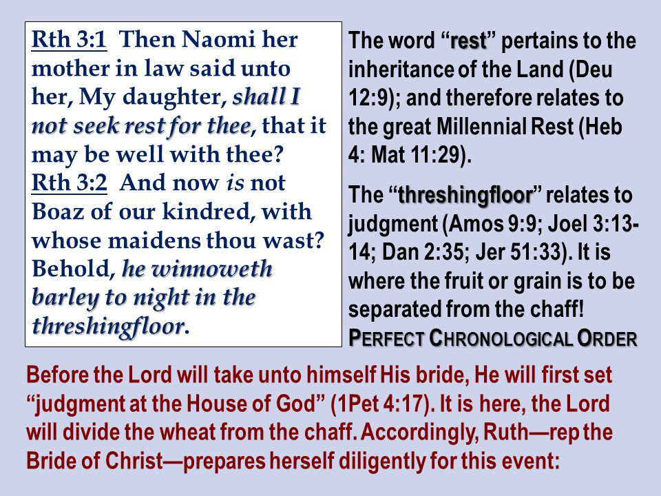 shall I not seek rest for thee Rth 3:1 Then Naomi her mother in law said unto her, My daughter, shall I not seek rest for thee, that it may be well with thee.