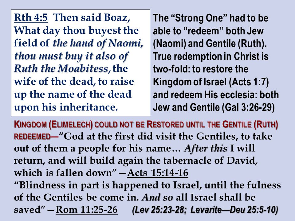 the hand of Naomi, thou must buy it also of Ruth the Moabitess Rth 4:5 Then said Boaz, What day thou buyest the field of the hand of Naomi, thou must buy it also of Ruth the Moabitess, the wife of the dead, to raise up the name of the dead upon his inheritance.