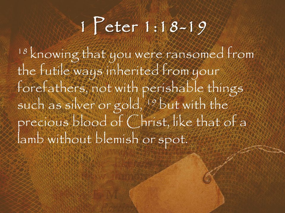 1 Peter 1:18-19 18 knowing that you were ransomed from the futile ways inherited from your forefathers, not with perishable things such as silver or gold, 19 but with the precious blood of Christ, like that of a lamb without blemish or spot.