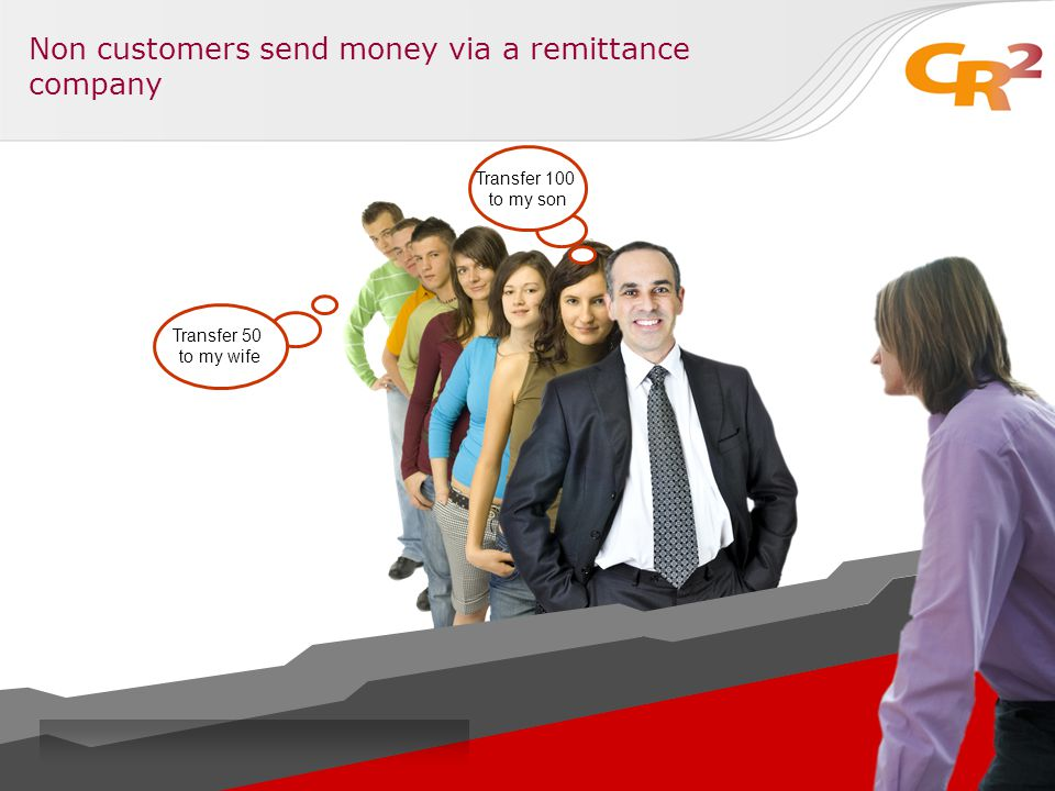 Non customers send money via a remittance company Transfer 100 to my son Transfer 50 to my wife