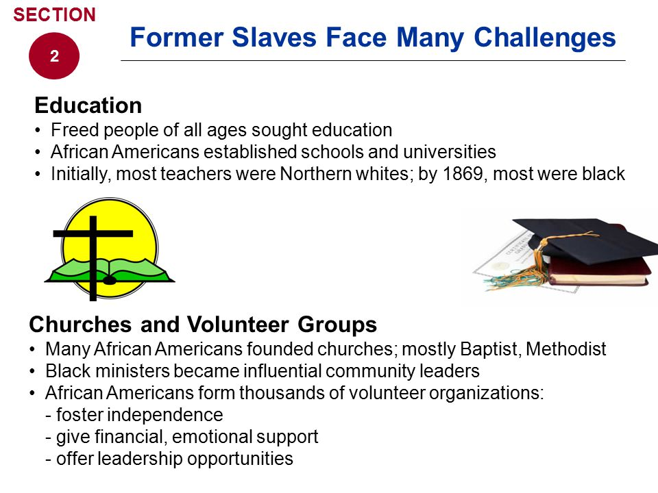 Education Freed people of all ages sought education African Americans established schools and universities Initially, most teachers were Northern whit