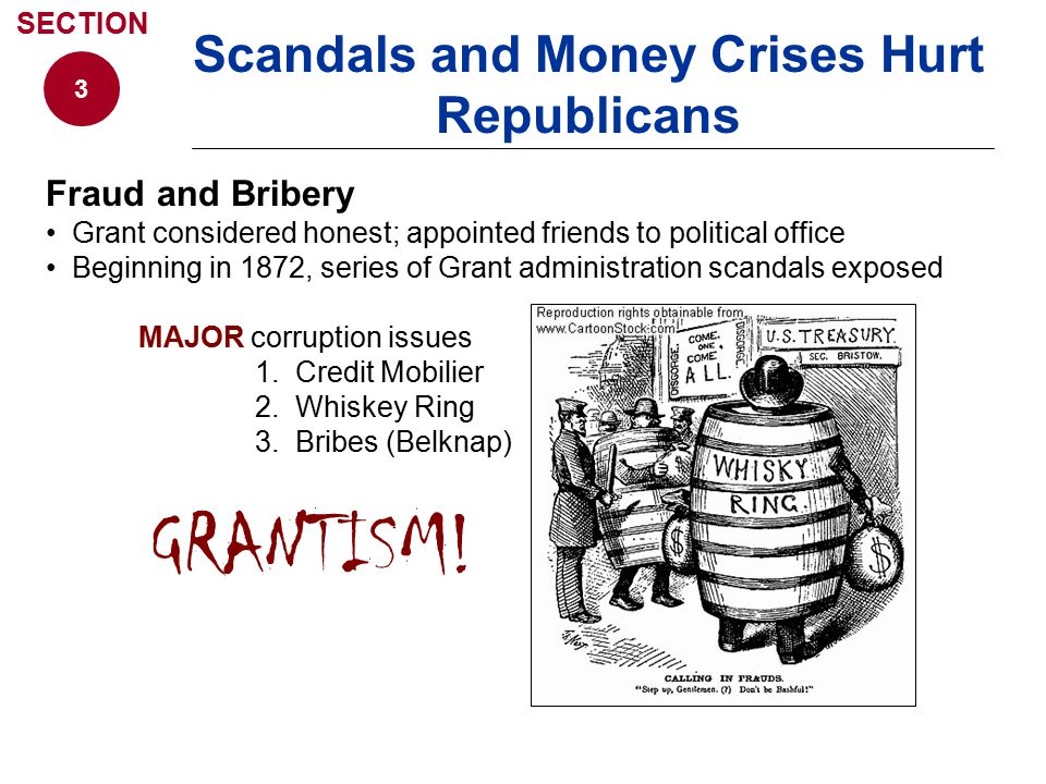 Fraud and Bribery Grant considered honest; appointed friends to political office Beginning in 1872, series of Grant administration scandals exposed MA