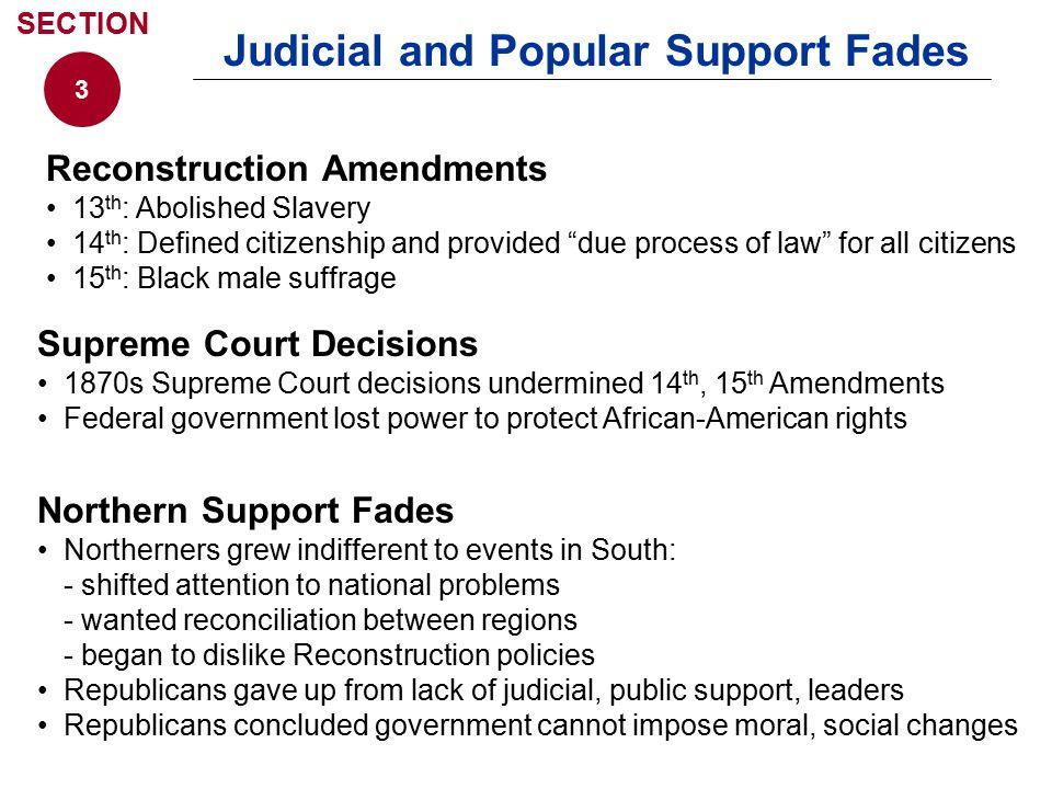 Judicial and Popular Support Fades Supreme Court Decisions 1870s Supreme Court decisions undermined 14 th, 15 th Amendments Federal government lost po