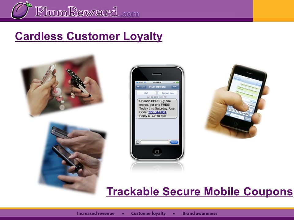 Cardless Customer Loyalty Trackable Secure Mobile Coupons
