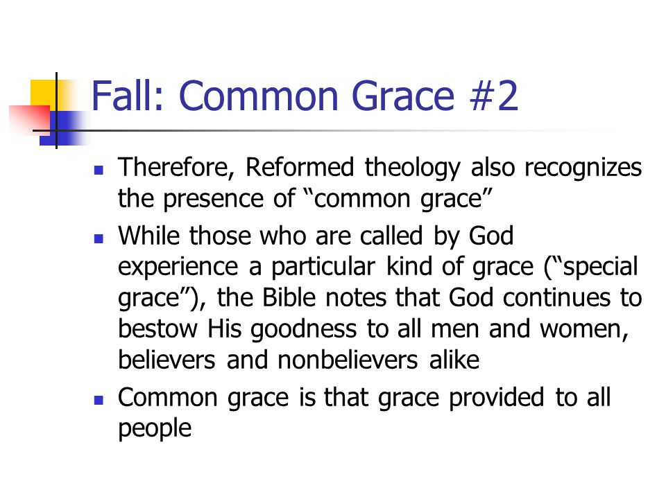 Fall: Common Grace #3 The common grace of God is experienced in the ordering of nature, the restraint of evil, and the ability of nonbelievers to reason and perform acts of civil good Therefore, as Reformed Christians, we do not believe that all insights of unbelievers or their accomplishments are necessarily bad and are to be rejected as totally corrupt and fallen It is common grace that provides us with certain common ground with unbelievers, which give us a reason for Christian engagement with the larger society