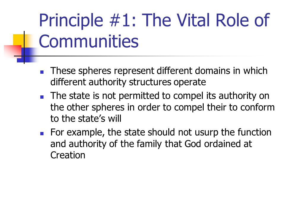 Principle #1: The Vital Role of Communities Reformed thinking confers authority and integrity to social associations and institutions outside the state In so doing, it advances what may be labeled as mediating structures or the notion of civil society that exists between individuals and the state These structures (associations, organizations, institutions) provide a sense of community, while shielding their members against any aggrandizing tendency of state authority
