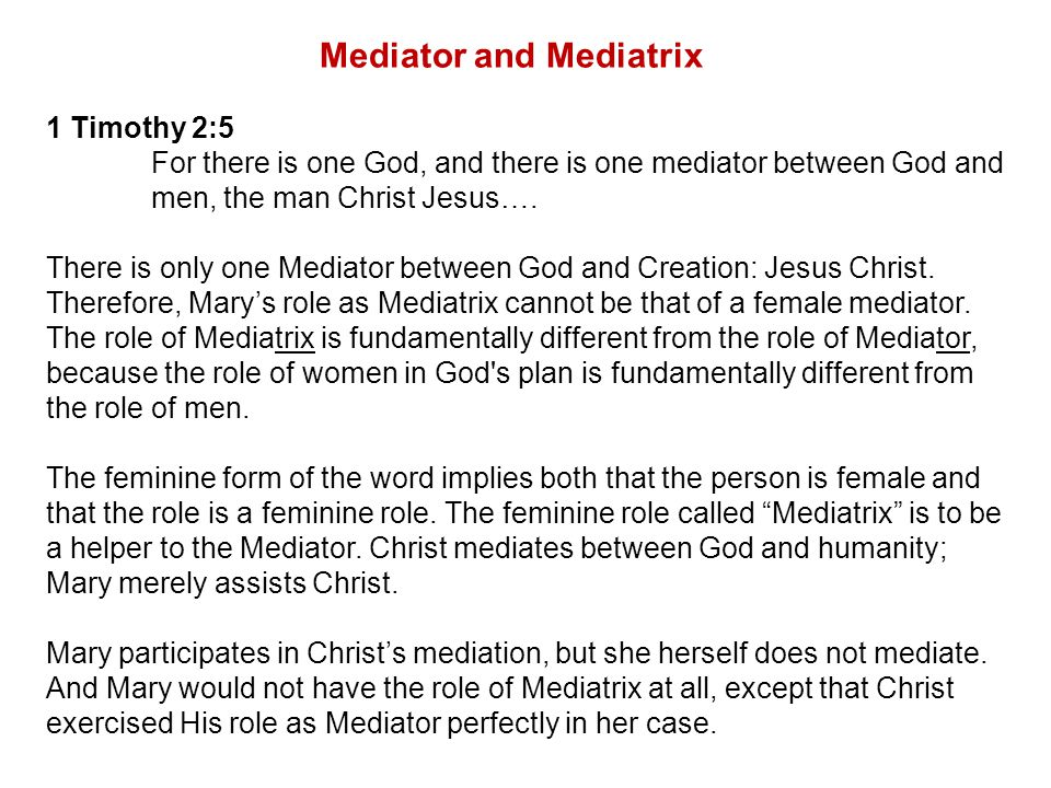 Mediator and Mediatrix 1 Timothy 2:5 For there is one God, and there is one mediator between God and men, the man Christ Jesus….