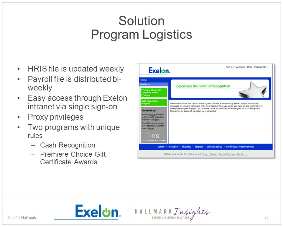 Solution Program Logistics HRIS file is updated weekly Payroll file is distributed bi- weekly Easy access through Exelon intranet via single sign-on Proxy privileges Two programs with unique rules –Cash Recognition –Premiere Choice Gift Certificate Awards 11 © 2010 Hallmark
