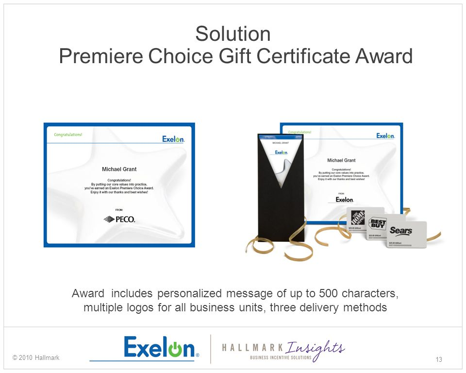 Solution Premiere Choice Gift Certificate Award 13 © 2010 Hallmark Award includes personalized message of up to 500 characters, multiple logos for all business units, three delivery methods