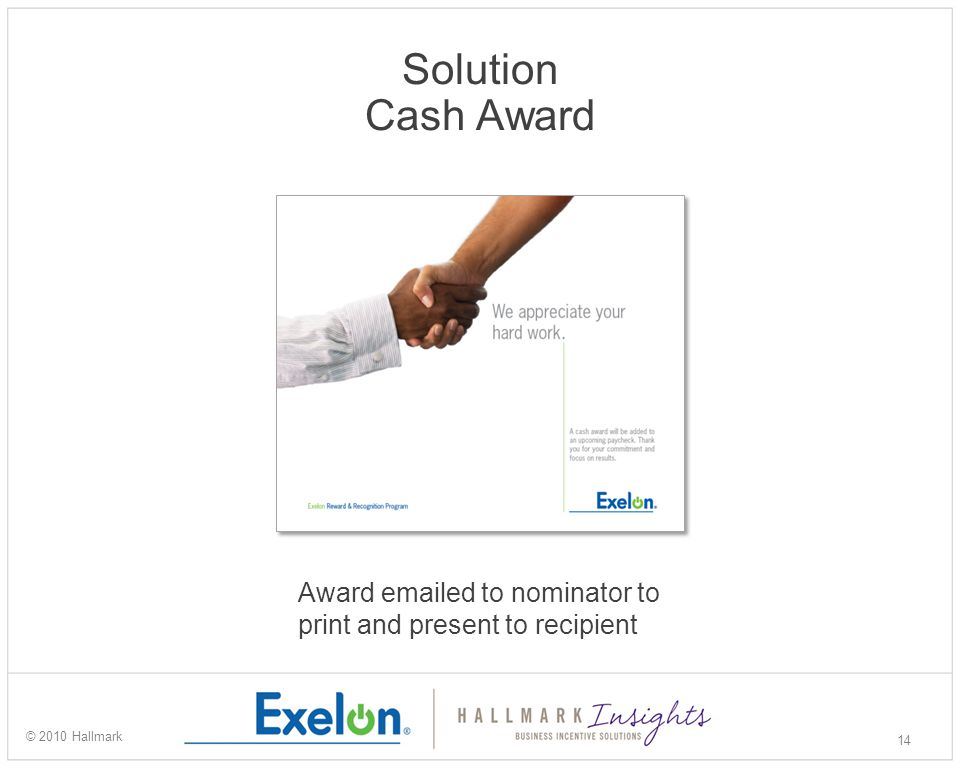 Solution Cash Award 14 © 2010 Hallmark Award emailed to nominator to print and present to recipient