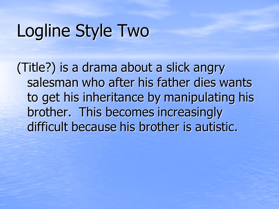 Logline Style Three (Title?) is a fantasy about a lonely boy who befriends a stranded alien and he must help the alien get back home or else the alien will die.