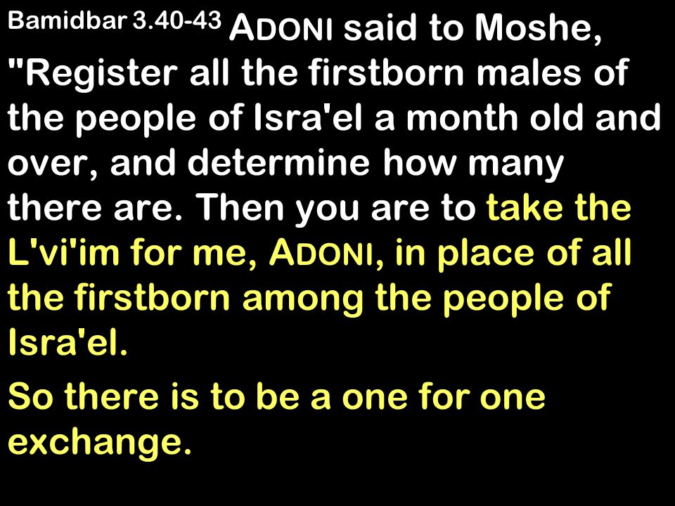 Bamidbar 3.40-43 A DONI said to Moshe, Register all the firstborn males of the people of Isra el a month old and over, and determine how many there are.