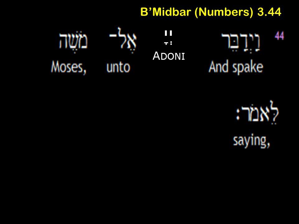 B'Midbar (Numbers) 3.44 יְיָ A DONI